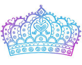 Hand-Drawn Sketchy Royalty Princess Tiara Crown — Vector de stock