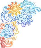 日当たりの良い夏の日と海洋波手描きスケッチ ノートの落書き — ストックベクタ