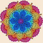 Groovy Psychedelic Rainbow Henna Mandala Flower Doodle — Stock Vector