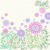 Hand-Drawn Flowers, Leaves, and Swirls Sketchy Notebook Doodles — Stock Vector