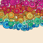 Hand-Drawn Psychedelic Abstract Groovy Rainbow Colored Doodle Circles — Stock Vector
