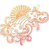 Hand-Drawn Summer Hibiscus Flower, Waves, and Tropical Sun — Stock Vector