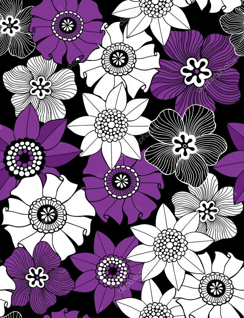 无缝重复图案的可爱花矢量插画壁纸