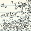 Superstar Sketchy Doodles with Lettering on Lined Notebook Paper — Stock Vector