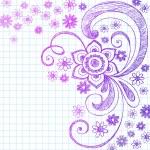 Flowers Back to School Sketchy Notebook Doodles- Illustration Design Elements on Lined Sketchbook Paper Background — Stock Vector #16508141