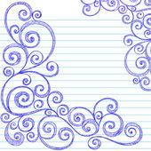 Handgezeichnete floral zurück zu schule skizzenhaften notebook — Stockvektor