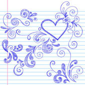 Valentine's Day Love & Hearts Sketchy Notebook Doodles Design Elements — Vecteur