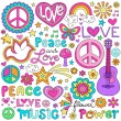 Peace Love and Music Notebook Doodles Vector — Stockvektor