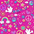 Peace and Love Doodles Seamless Repeat Pattern Design — Stock Vector