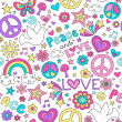 Peace and Love Doodles Seamless Repeat Pattern Design — Stock Vector #18439099