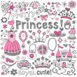 Vector de stock : Princess TiarSketchy Notebook Doodles Vector Set