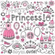 Princess Tiara Sketchy Notebook Doodles Vector Set — Stock Vector