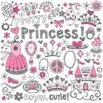 Princess tiara schetsmatig notebook doodles vector set — Stockvector