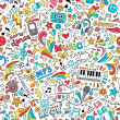 Stock Vector: Music Notebook Doodles Seamless Pattern Vector Illustration