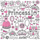 Princess tiara skissartad notebook doodles vektor set — Stockvektor
