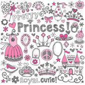 Taccuino abbozzato princess diadema doodles set vettoriale — Vettoriale Stock