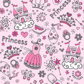 Princess Tiara Pattern Sketchy Notebook Doodles Vector Set — Stock Vector