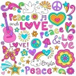 Peace, Love, Music and Flower Power Psychedelic Groovy Notebook Doodle Vector Illustration Design Elements - Stok Vektör