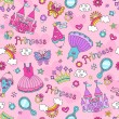 Princess Fairytale Seamless Pattern Notebook Doodles Vector Illustration with Tiara, Tutu, and Castle — Imagen vectorial
