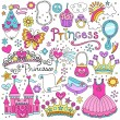 Princess Tiara Crown Notebook Doodles Design Elements Set- Illustration — Stock Vector