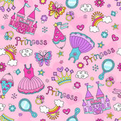 Princess Fairytale Seamless Pattern Notebook Doodles Vector Illustration with Tiara, Tutu, and Castle — Stock Vector