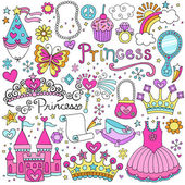 Princess Tiara Crown Notebook Doodles Design Elements Set- Illustration — Vettoriale Stock