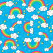 Rainbows Sky and Clouds Seamless Pattern- Groovy Notebook Doodles Hand-Drawn Vector Illustration Background — ストックベクタ