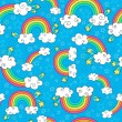 Rainbows Sky and Clouds Seamless Pattern- Groovy Notebook Doodles Hand-Drawn Vector Illustration Background — Stock Vector