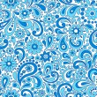 Paisley Henna Mehndi Elegant Flower and Swirl Doodles Seamless Pattern- Hand-Drawn Illustration - Stock Vector