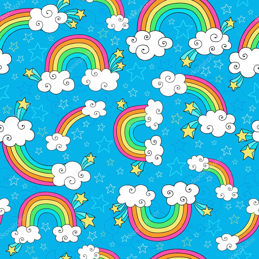 rainbows sky and clouds seamless pattern groovy notebook