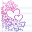Love Hearts Frame Border Back to School Sketchy Notebook Doodles- Vector Illustration Design on Lined Sketchbook Paper Background — 图库矢量图片