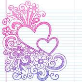 Love Hearts Frame Border Back to School Sketchy Notebook Doodles- Vector Illustration Design on Lined Sketchbook Paper Background — Stock Vector
