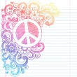 Peace Sign Sketchy Doodles Vector Illustration with Shooting Stars, hearts, and Flowers — Stockvektor