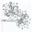 Music Note I Love Music Back to School Sketchy Notebook Doodles- Hand-Drawn Illustration Design Elements on Lined Sketchbook Paper Background — Imagens vectoriais em stock