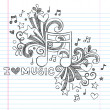 Music Note I Love Music Back to School Sketchy Notebook Doodles- Hand-Drawn Illustration Design Elements on Lined Sketchbook Paper Background — Векторная иллюстрация