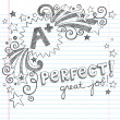 A Plus Student Great Grades Back to School Sketchy Notebook Doodles with Lettering, Shooting Stars, and Swirls- Hand-Drawn Illustration Design Elements on Lined Sketchbook Paper Background — Imagen vectorial