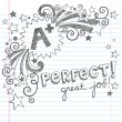 A Plus Student Great Grades Back to School Sketchy Notebook Doodles with Lettering, Shooting Stars, and Swirls- Hand-Drawn Illustration Design Elements on Lined Sketchbook Paper Background — Векторная иллюстрация