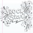 Rock Star Music Back to School Sketchy Notebook Doodles with Music Notes and Swirls- Hand-Drawn Vector Illustration Design Elements on Lined Sketchbook Paper Background — Stockvektor