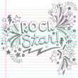 Rock Star Music Back to School Sketchy Notebook Doodles with Music Notes and Swirls- Hand-Drawn Vector Illustration Design Elements on Lined Sketchbook Paper Background — Imagens vectoriais em stock