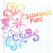 Hibiscus Summer Fun Tropical Vacation Sketchy Notebook Doodles Vector Illustration on Lined Sketchbook Paper Background — Imagens vectoriais em stock