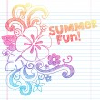 Hibiscus Summer Fun Tropical Vacation Sketchy Notebook Doodles Vector Illustration on Lined Sketchbook Paper Background — Stockvektor