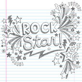 Rock Star Music Back to School Sketchy Notebook Doodles with Music Notes and Swirls- Hand-Drawn Vector Illustration Design Elements on Lined Sketchbook Paper Background — Stock Vector