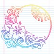 Hibiscus Flower Tropical Beach Summer Vacation Sketchy Notebook Doodles- Hand Drawn Vector Illustration — Imagen vectorial