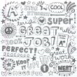 Great Job Super Student Praise Phrases Back to School Sketchy Notebook Doodles- Hand-Drawn Illustration Design Elements on Lined Sketchbook Paper Background — Vettoriali Stock