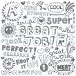 Stock Vector: Great Job Super Student Praise Phrases Back to School Sketchy Notebook Doodles- Hand-Drawn Illustration Design Elements on Lined Sketchbook Paper Background