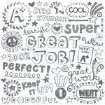 Great Job Super Student Praise Phrases Back to School Sketchy Notebook Doodles- Hand-Drawn Illustration Design Elements on Lined Sketchbook Paper Background — Stock Vector