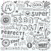 Great Job Super Student Praise Phrases Back to School Sketchy Notebook Doodles- Hand-Drawn Illustration Design Elements on Lined Sketchbook Paper Background — Stock Vector