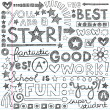 Great Work Super Praise Phrases Back to School Sketchy Notebook Doodles- Hand-Drawn Illustration Design Elements on Lined Sketchbook Paper Background — 图库矢量图片