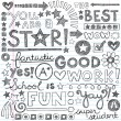Great Work Super Praise Phrases Back to School Sketchy Notebook Doodles- Hand-Drawn Illustration Design Elements on Lined Sketchbook Paper Background — Image vectorielle
