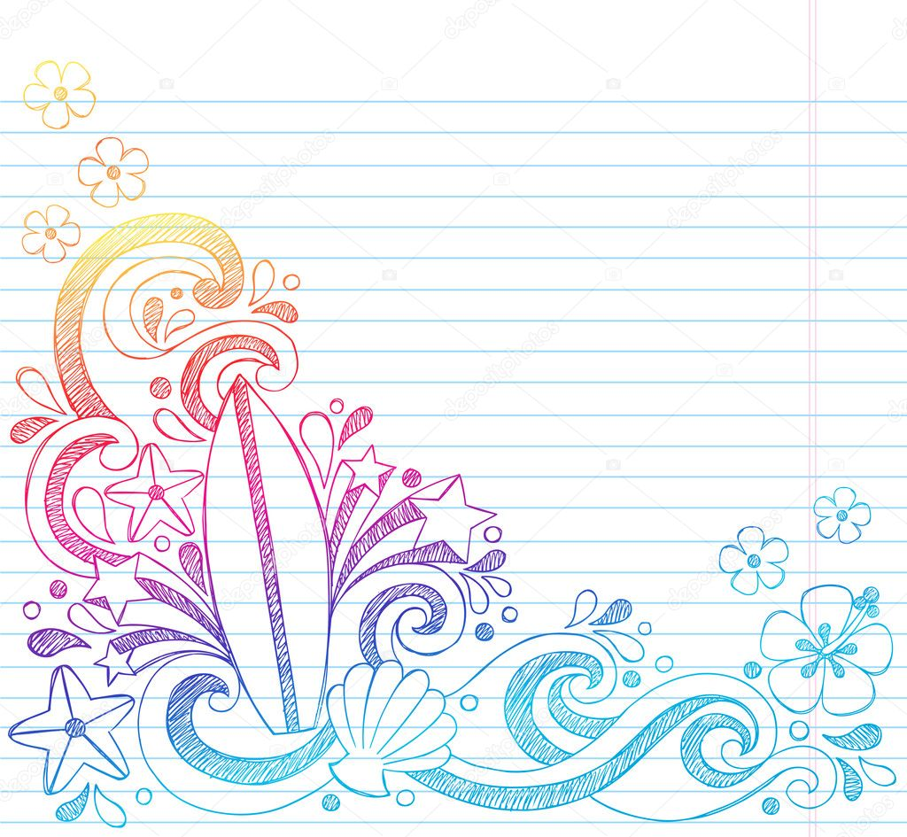 christmas border lined paper writing – Four Ruled Paper